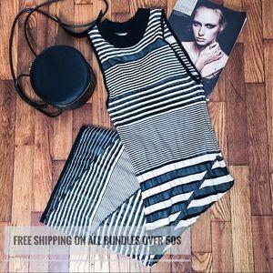 Arden B striped high neck body con midi dress